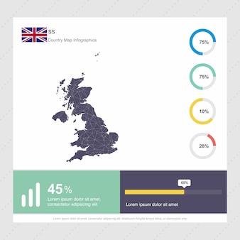 Modello di infografica mappa e bandiera del regno unito