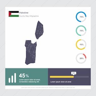 Modello di infografica mappa e bandiera della palestina