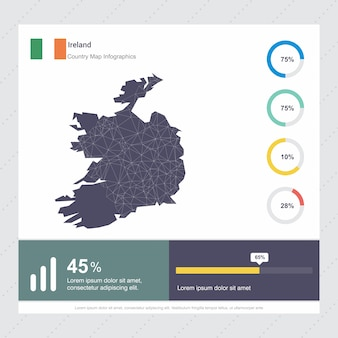 Modello di infografica mappa e bandiera irlanda