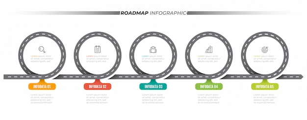 Modello di infografica mappa stradale. cronologia con 5 passaggi, opzioni. etichetta ed icone di progettazione di massima di affari.