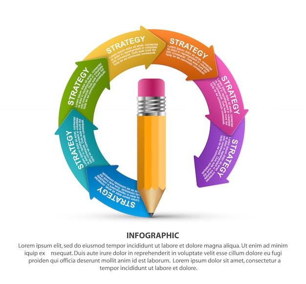 Modello di infografica, matita con le frecce in un cerchio.