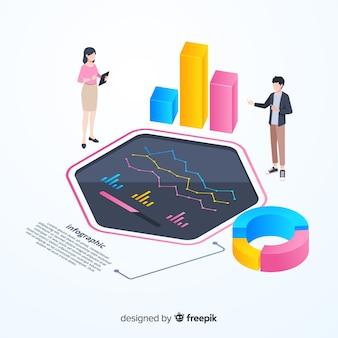 Modello di infografica monitoraggio colorato isometrico