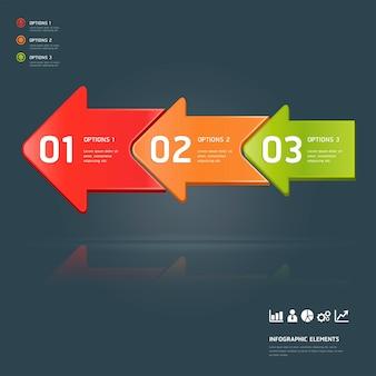 Modello di infografica opzioni numero colorato.