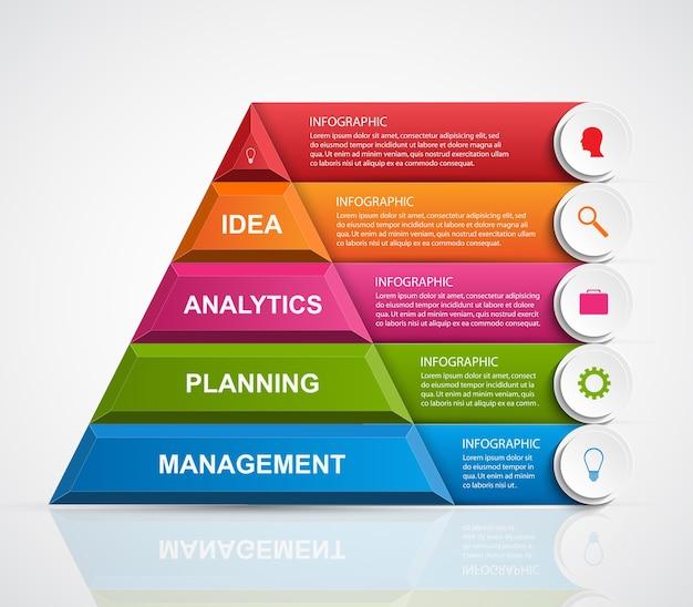Modello di infografica opzioni piramide.