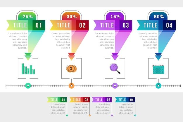 Modello di infografica passi