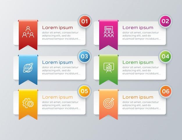 Modello di infografica passo colorato