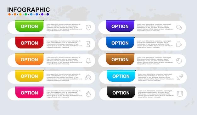 Modello di infografica per il flusso di lavoro della timeline di 8 passi di business con simbolo e articolo. la bandiera infographic premio ha messo nel vettore