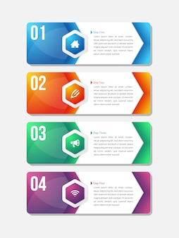Modello di infografica per quattro opzioni, passaggi o processi.