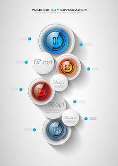 Modello di infografica per visualizzazione e classificazione dei dati moderni