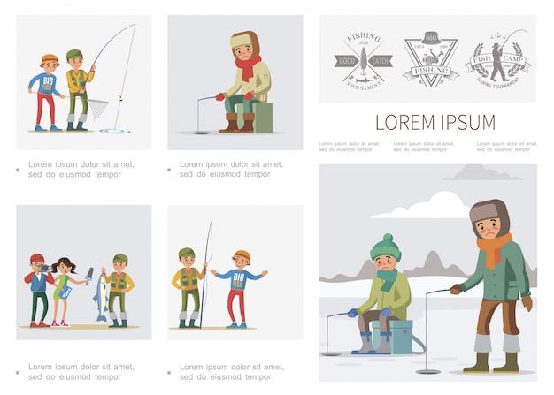 Modello di infografica pesca piatta con pescatore di intervista giornalista di pescatori di pesca estiva e invernale che ha pescato pesci grossi