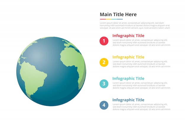 Modello di infografica pianeta terra con 4 punti di descrizione del testo spazio libero