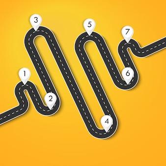 Modello di infografica posizione strada modo con puntatore pin