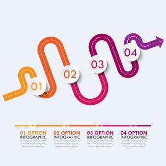 Modello di infografica posizione strada modo con una struttura graduale