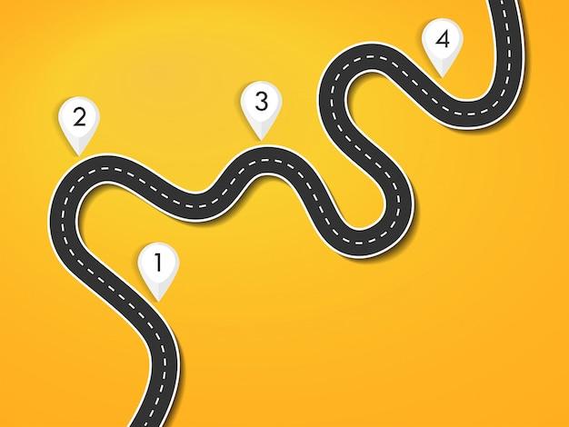 Modello di infografica posizione strada modo strada per il viaggio