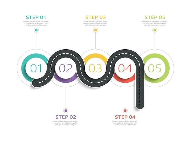 Modello di infografica posizione strada tortuosa con una struttura graduale