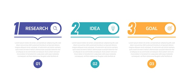 Modello di infografica processo aziendale con opzioni o passaggi. illustrazione grafica.