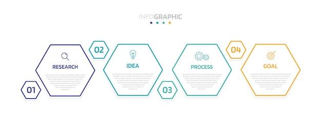 Modello di infografica processo aziendale con opzioni o passaggi. layout di carta moderno con una linea sottile. illustrazione grafica.