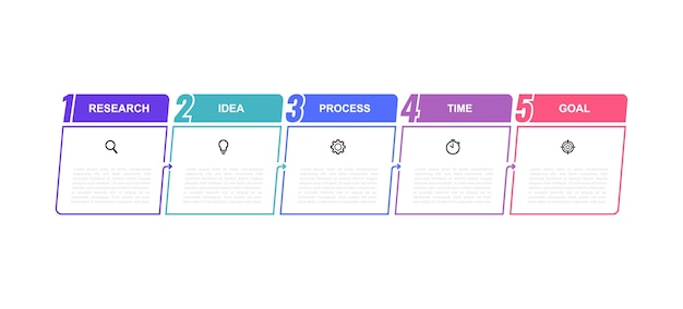 Modello di infografica processo aziendale con opzioni o passaggi. linea sottile . illustrazione grafica.