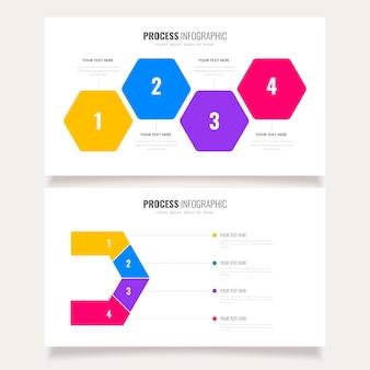 Modello di infografica processo colorato