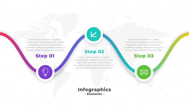 Modello di infografica professionale moderno di tre passaggi