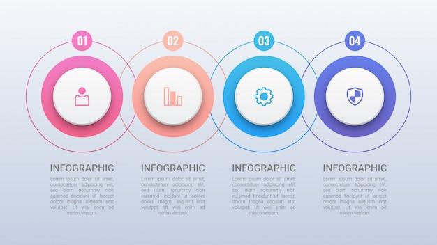 Modello di infografica quattro cerchi colorati