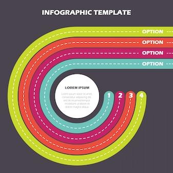 Modello di infografica. quattro strade colorate con alcune opzioni.