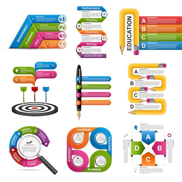 Modello di infografica raccolta. elementi di design