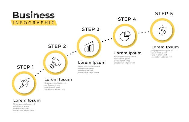Modello di infografica scala gialla 5 passaggi
