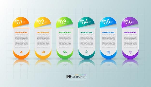 Modello di infografica sei opzioni