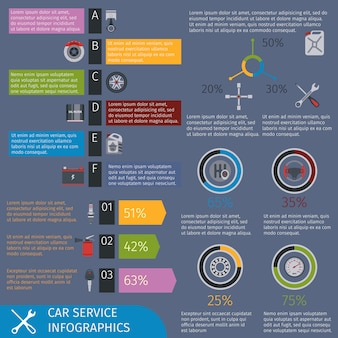 Modello di infografica servizio auto