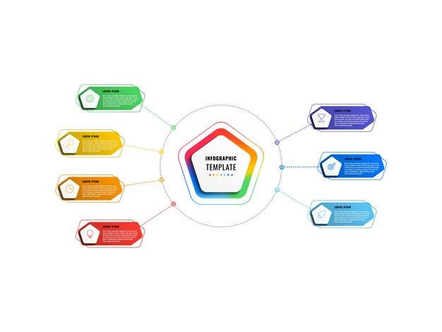 Modello di infografica sette passaggi con pentagoni ed elementi poligonali su uno sfondo bianco. visualizzazione dei processi aziendali moderni con icone di marketing di linea sottile. illustrazione