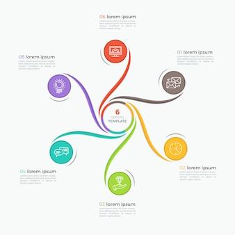 Modello di infografica stile ricciolo con 6 opzioni