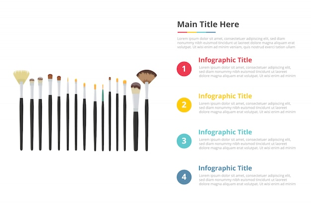 Modello di infografica strumenti pennello trucco con quattro punti
