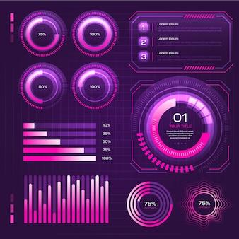 Modello di infografica tecnologia rosa