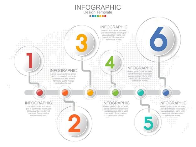 Modello di infografica timeliane con cornice e layout di testo.