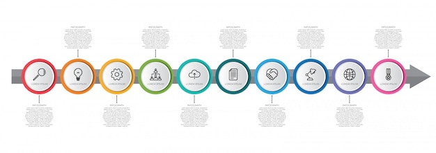 Modello di infografica timeline colorato con freccia