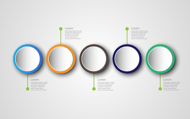 Modello di infografica timeline con 5 opzioni, diagramma di processo