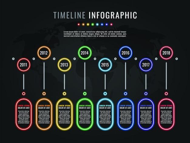 Modello di infografica timeline con elementi di bagliore al neon e caselle di testo su sfondo scuro