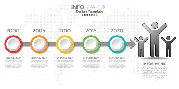 Modello di infografica timeline con frecce, diagramma di flusso, flusso di lavoro o processo.