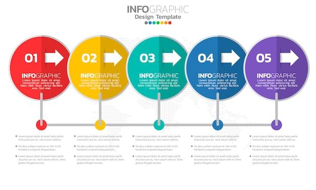 Modello di infografica timeline con frecce e 5 opzioni di design piatto