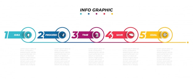 Modello di infografica timeline con icone di marketing.