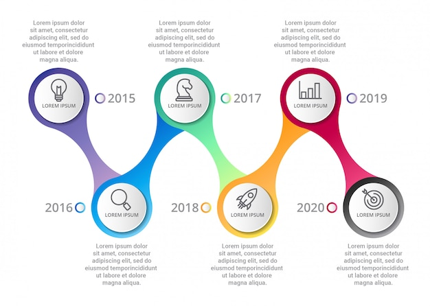 Modello di infografica timeline con icone icone o passaggi
