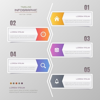 Modello di infografica timeline con icone