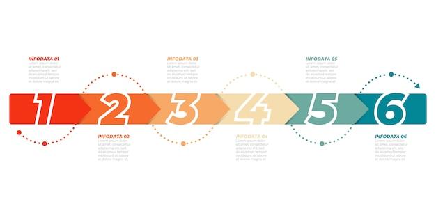 Modello di infografica timeline. concetto di affari con 6 opzioni, passaggi, frecce. può essere utilizzato per diagramma del flusso di lavoro, grafico informativo, presentazioni.