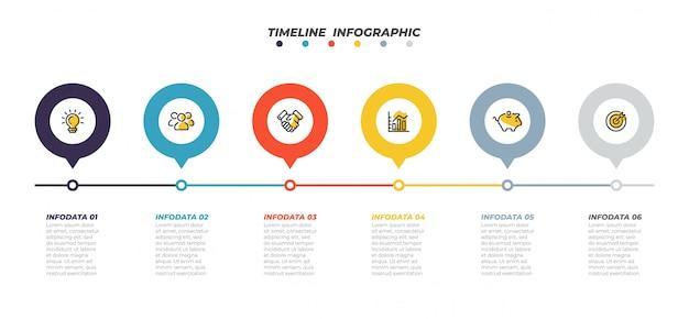 Modello di infografica timeline. concetto di affari con icone di marketing e 6 step, opzione. elementi del processo di localizzazione creativa. illustrazione vettoriale