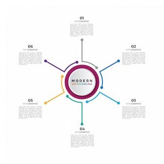 Modello di infografica timeline del cerchio di affari