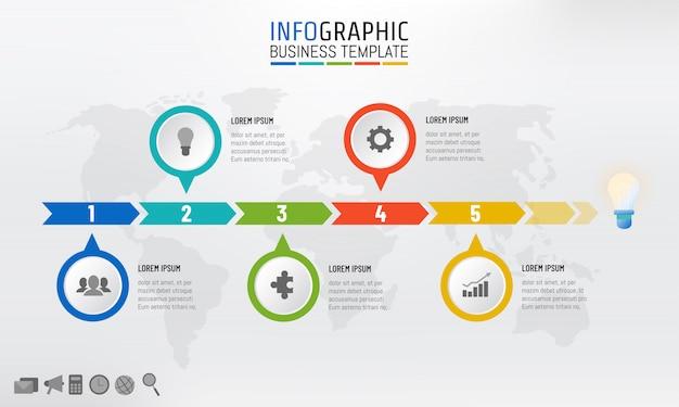 Modello di infografica timeline di affari con 5 opzioni