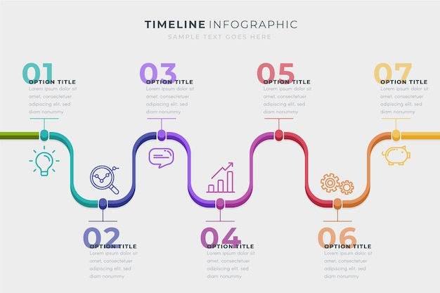 Modello di infografica timeline di affari