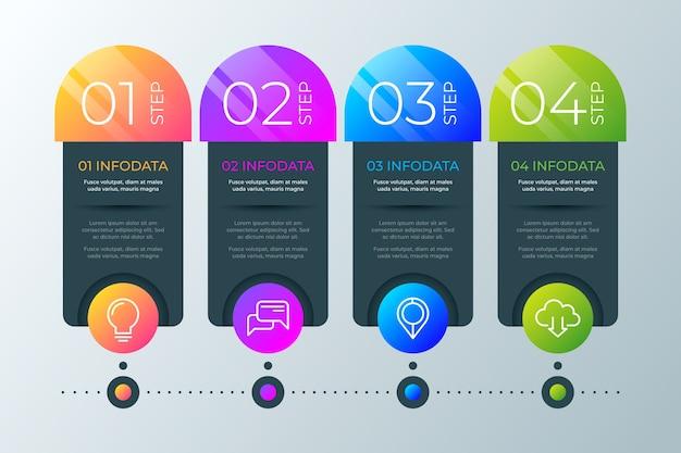 Modello di infografica timeline gradiente