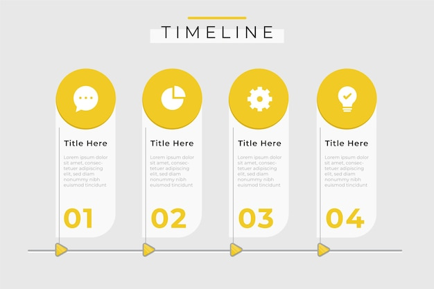 Modello di infografica timeline monocromatico